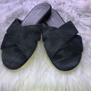 STUART WEITZMAN Byway denim crisscross flat sandal